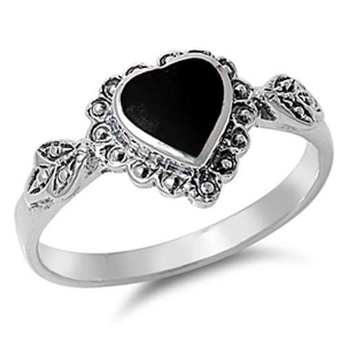 Fancy Black Onyx Heart Sterling Silver Ring - JaeBee Jewelry