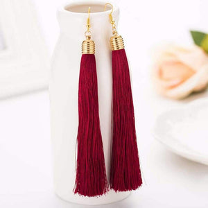 Burgundy Long Tassel Earrings