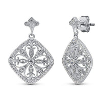 Sterling Silver CZ Filigree Flower Earrings