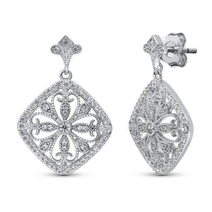 Sterling Silver CZ Filigree Flower Dangle Earrings - JaeBee Jewelry