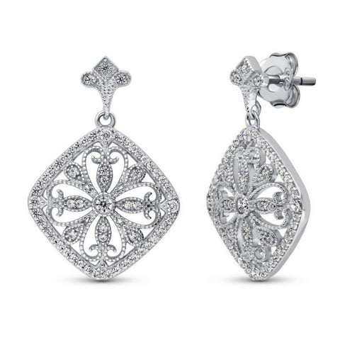Sterling Silver CZ Filigree Flower Dangle Earrings