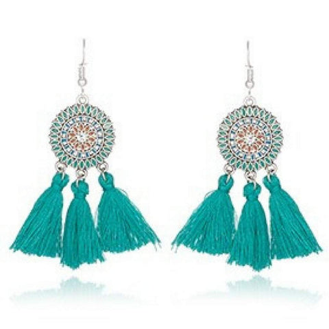Teal Bohemian Enameled Tassel Earrings