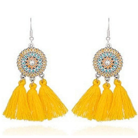 Yellow Bohemian Enameled Tassel Earrings