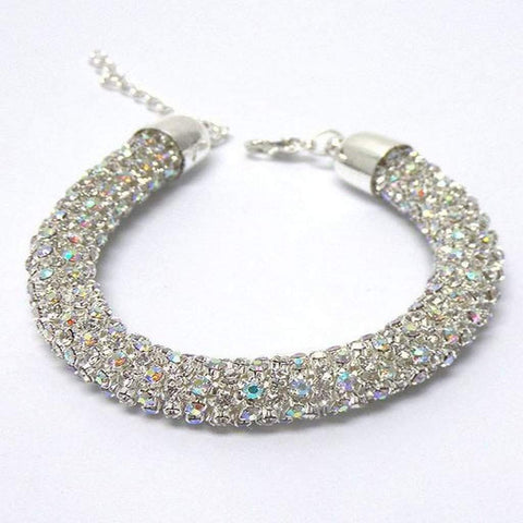 Crystal Silver Rope Mesh Chain Bracelet