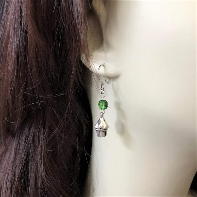 Silver Cupcake Dangle Earrings with Swarovski Crystals - JaeBee Jewelry
