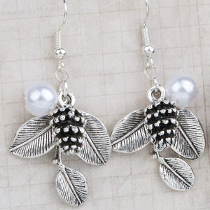 Silver Pine Cone, Leaves and Pearl Dangle Earrings - JaeBee Jewelry