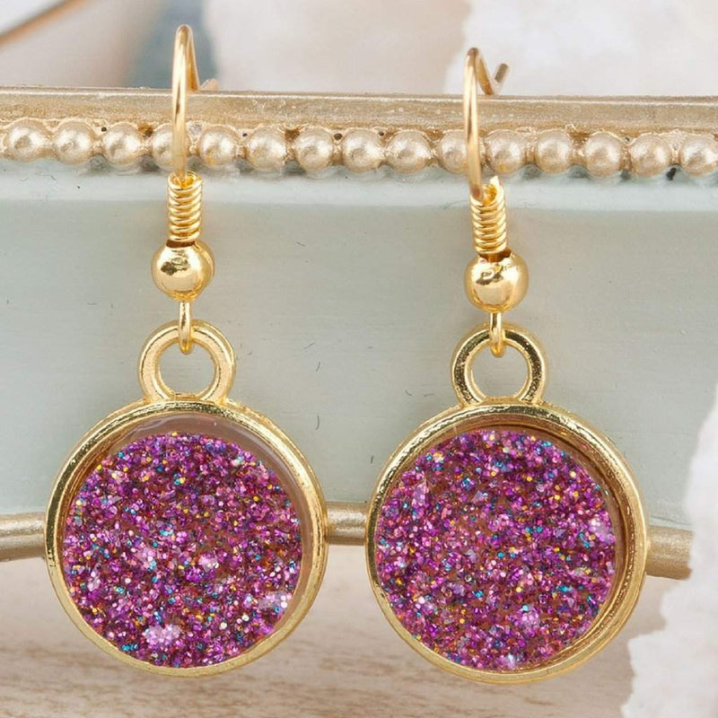 Blue, Gold, Silver, and Purple Druzy Dangle Earrings - JaeBee Jewelry