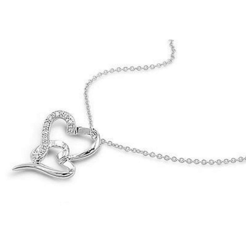 Double Hanging Sterling Silver and CZ Heart Necklace - JaeBee Jewelry