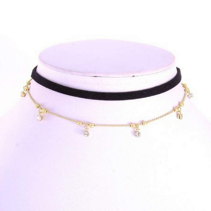 Leatherette Black and Gold Chain Choker - JaeBee Jewelry
