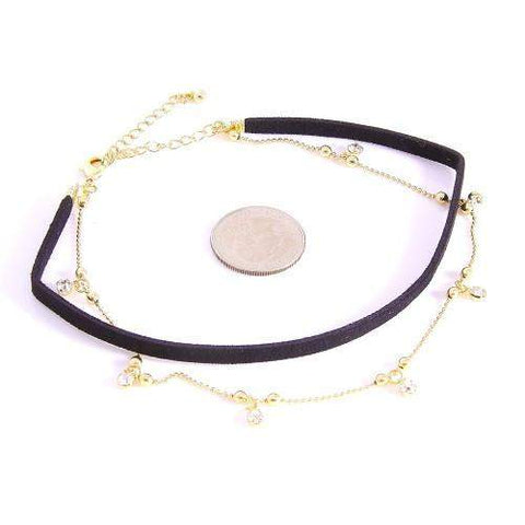 Leatherette Black and Gold Chain Choker