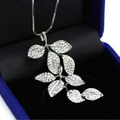 Rhinestone Crystal Leaf Long Necklace