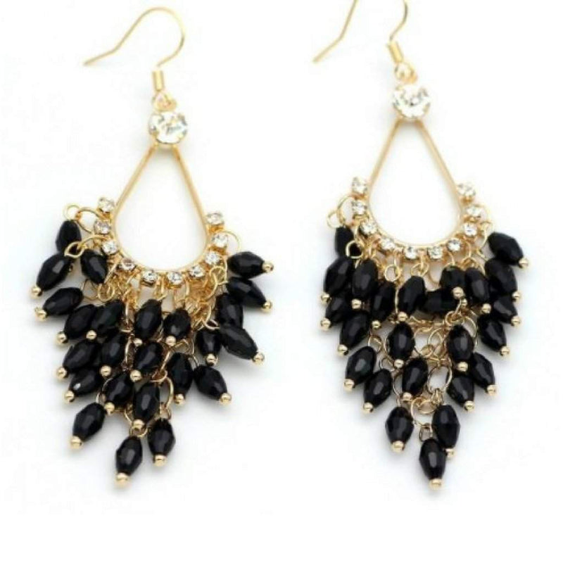 Black Crystal and Gold Chandelier Dangle Earrings - JaeBee