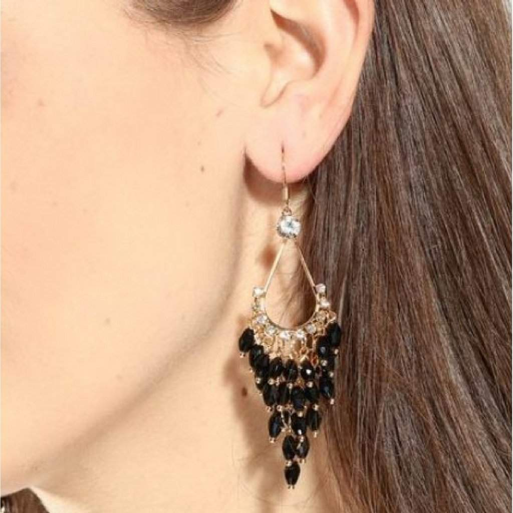 Black Crystal and Gold Chandelier Dangle Earrings - JaeBee Jewelry