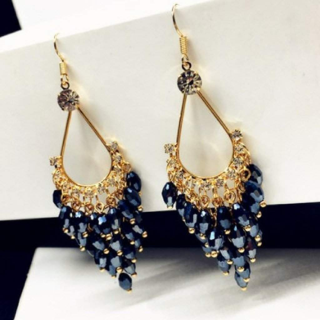 Blue Montana Crystal and Gold Chandelier Dangle Earrings - JaeBee Jewelry