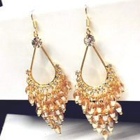 Champaign Crystal and Gold Chandelier Dangle Earrings - JaeBee Jewelry