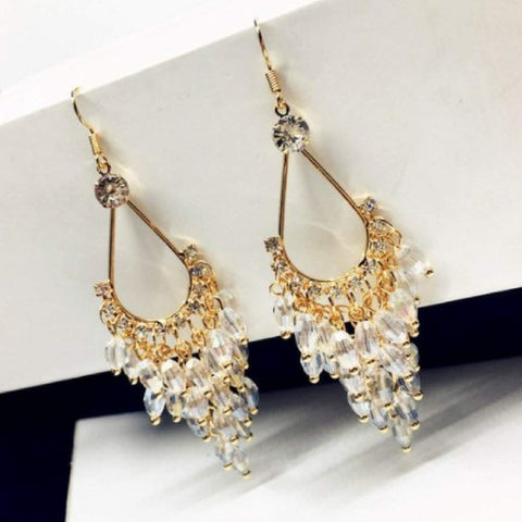 Clear Crystal and Gold Chandelier Dangle Earrings