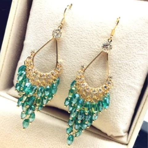 Green Crystal and Gold Chandelier Dangle Earrings