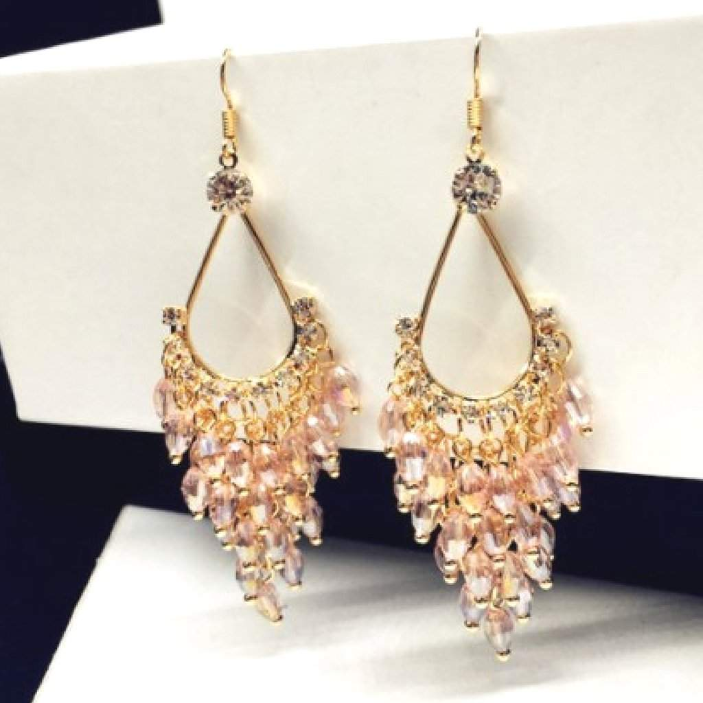 Pink Crystal and Gold Chandelier Dangle Earrings - JaeBee Jewelry