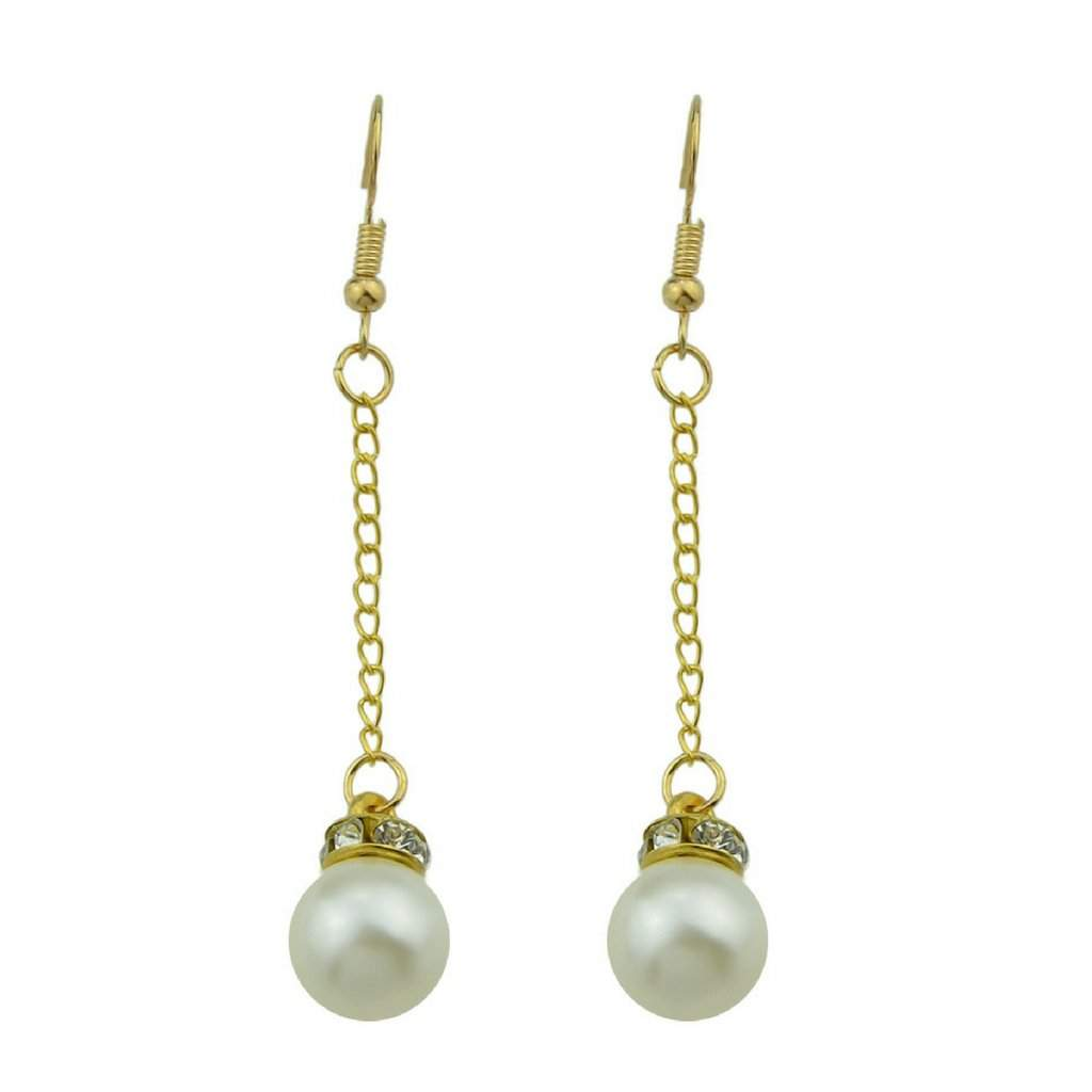 Faux Pearl Long Drop Earrings - JaeBee Jewelry