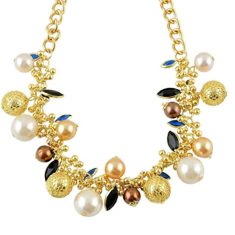Gold Chain with White, Bronze, and Gold Beaded Statement Necklace