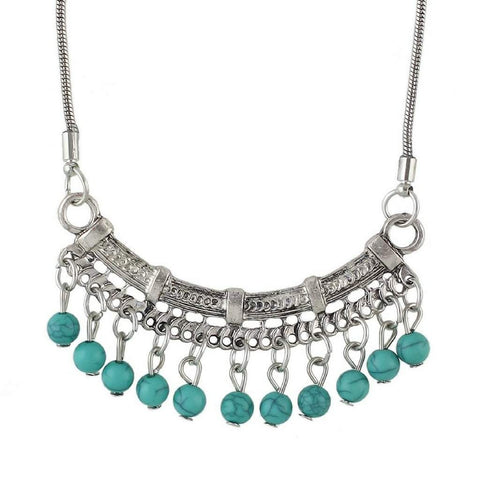 Silver Boho Bar and Blue Turquoise Beaded Necklace