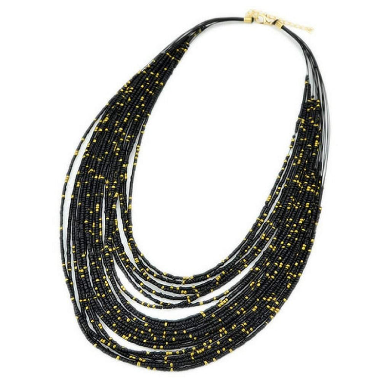 Black and Gold Seed Bead Layered Necklace - JaeBee Jewelry