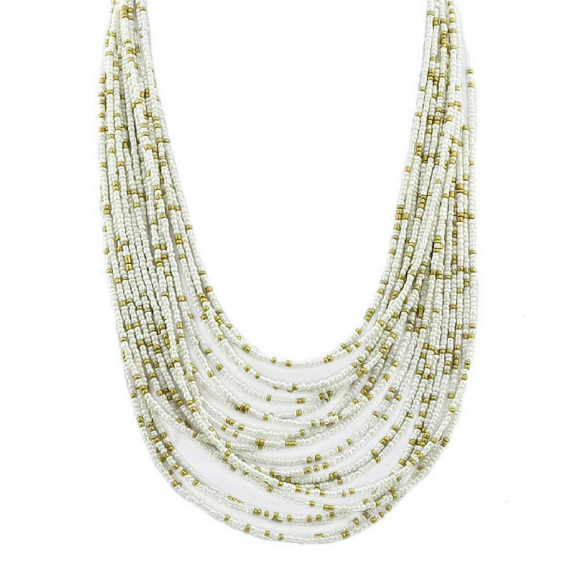 White and Gold Seed Bead Layered Necklace - JaeBee Jewelry