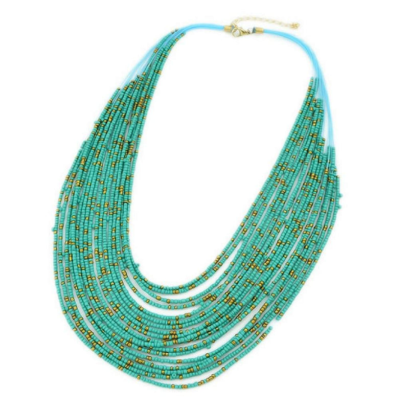Multilayer Bright Emerald Green and Sky Blue Cut Seed Bead Necklace With 11 Layers
