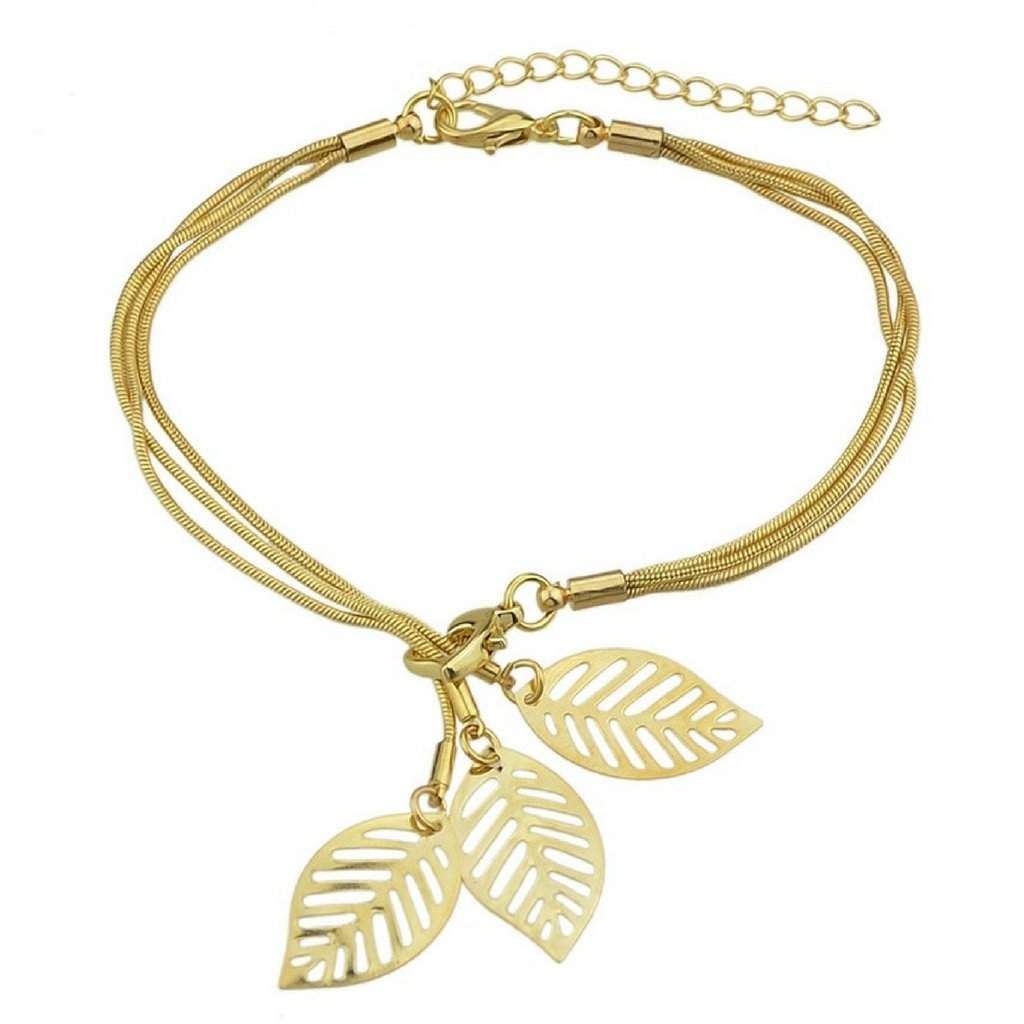 Gold Snake Chain Bracelet with Gold Charm Leaves - JaeBee Jewelry