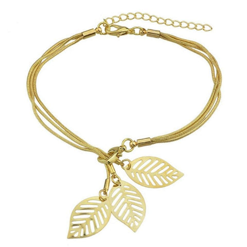 Gold Snake Chain Bracelet with Gold Charm Leaves