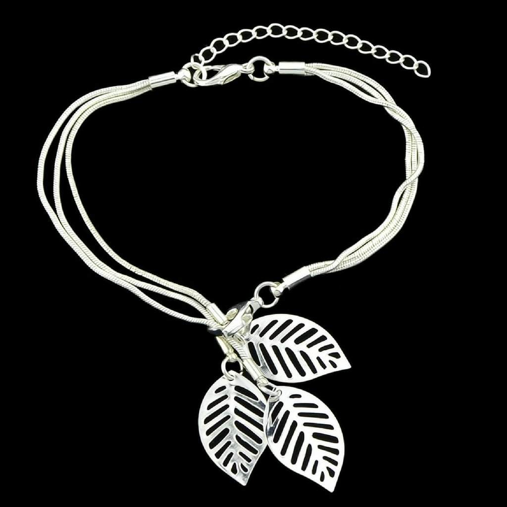 Silver Snake Chain Bracelet with Silver Charm Leaves - JaeBee Jewelry