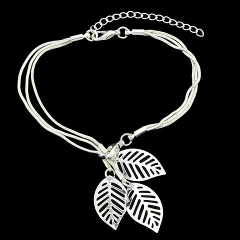 Silver Snake Chain Bracelet with Silver Charm Leaves