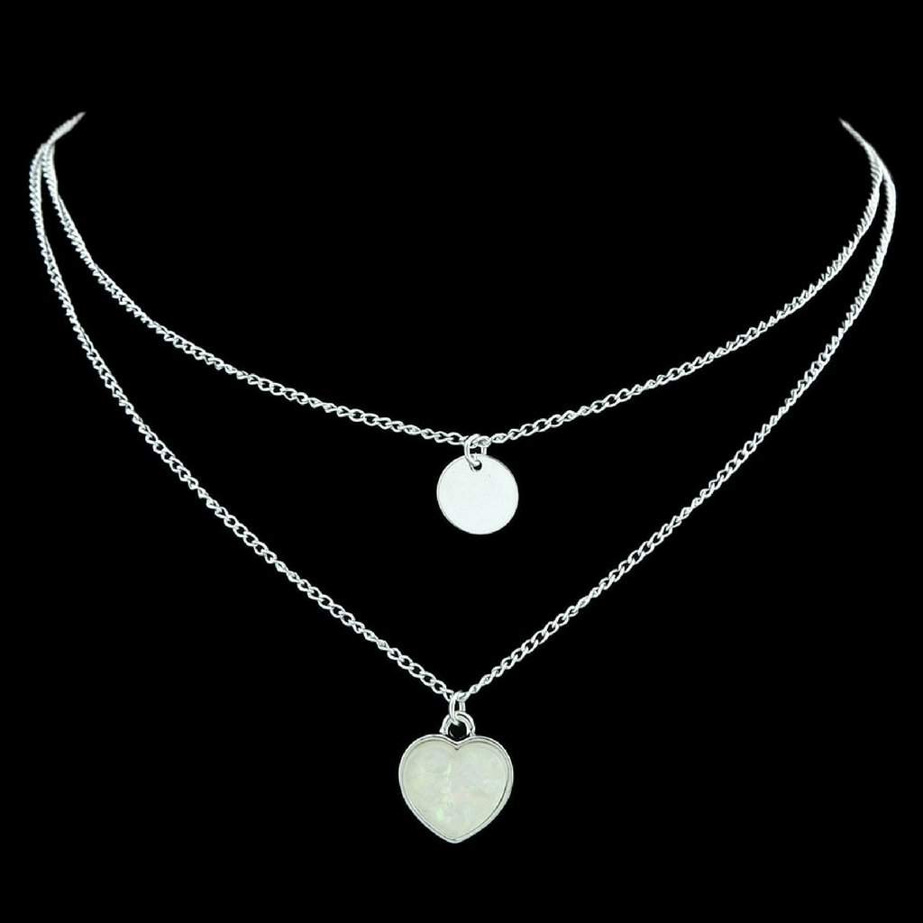 Two Layered Heart and Disc Silver Necklace