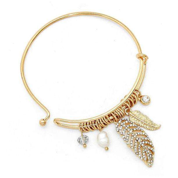 Gold and Crystal Leaf Bangle Bracelet - JaeBee Jewelry