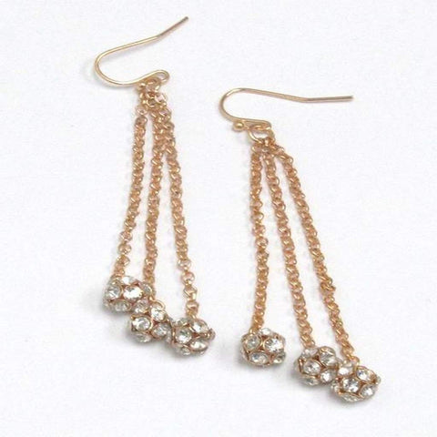 Gold Rhinestone Triple Ball Dangle Earrings