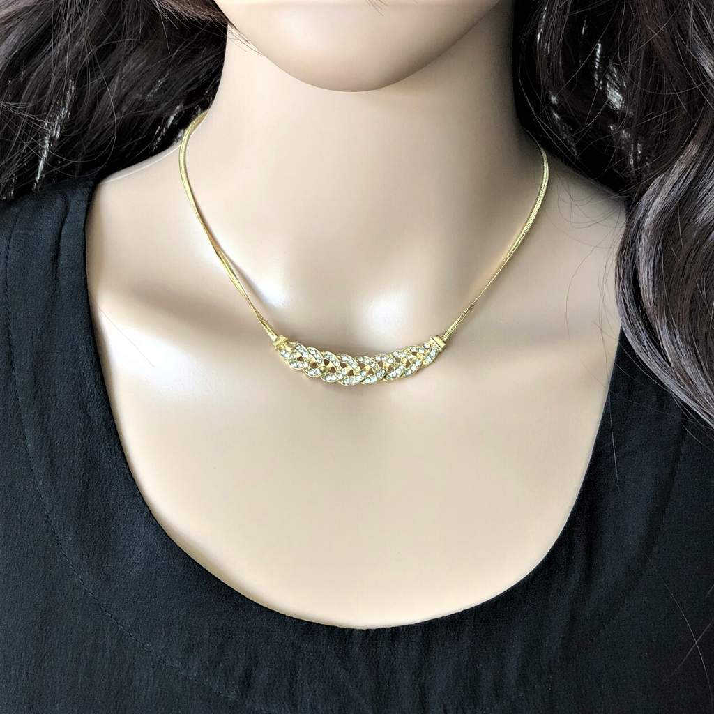 Gold and Crystal Braided Collar Necklace - JaeBee Jewelry