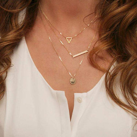 Gold Layered Triangle, Bar, and Disc Necklace