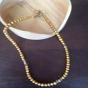 Gold Freshwater Pearl Necklace with Swarovski Crystals - JaeBee Jewelry