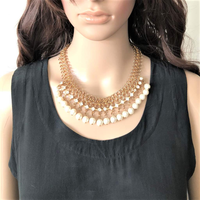 Gold Chain Pearl and Rhinestone Statement Necklace - JaeBee Jewelry