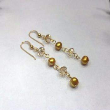 Gold Freshwater Pearl Earrings with Swarovski Crystals - JaeBee