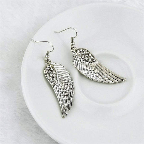 Silver and Crystal Angel Wings Dangle Earrings