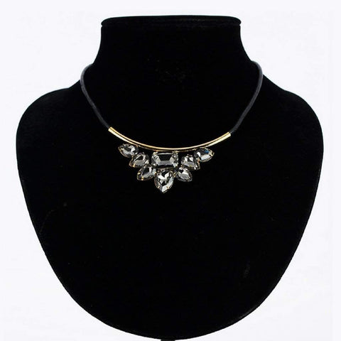 Mystic Black Stone Statement Collar Necklace