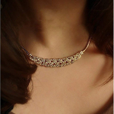 Gold and Crystal Braided Collar Necklace