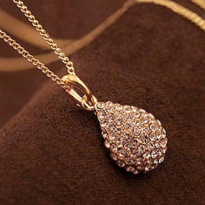 Gold and Crystal Teardrop Necklace - JaeBee Jewelry