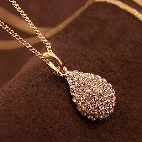 Gold and Crystal Teardrop Necklace