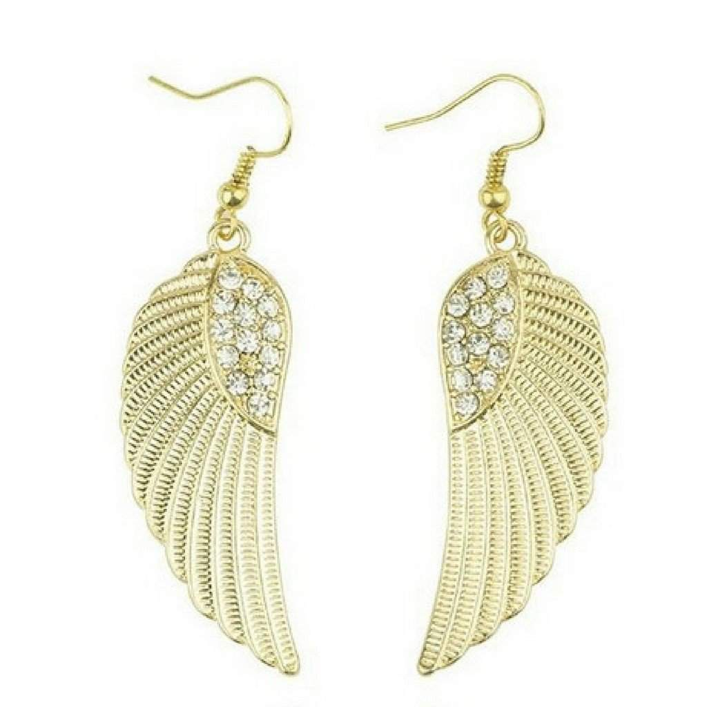 Gold and Crystal Angel Wings Dangle Earrings - JaeBee Jewelry