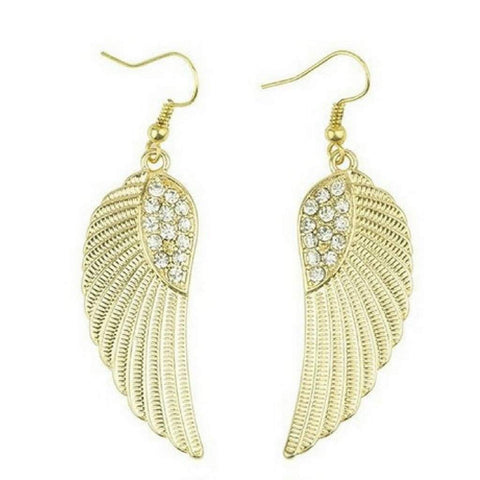 Gold and Crystal Angel Wings Dangle Earrings