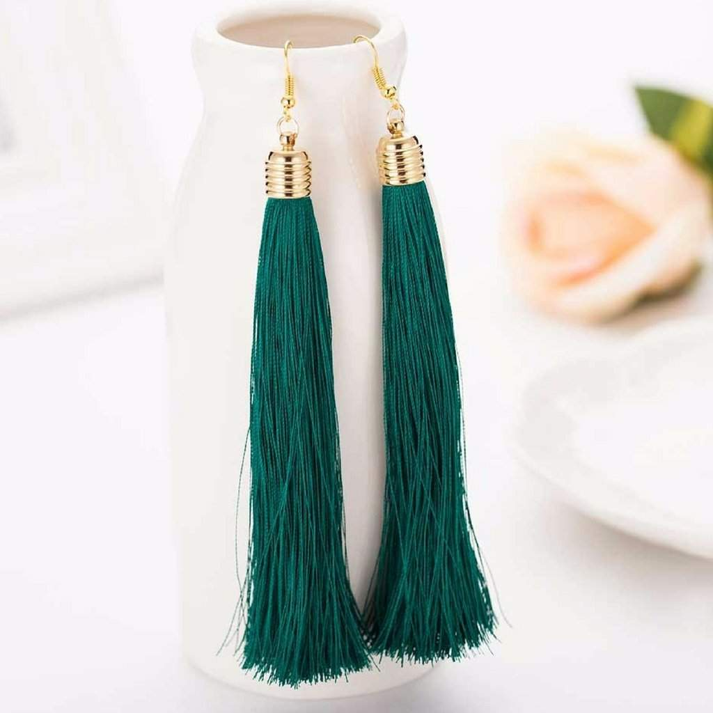 Green Long Tassel Earrings - JaeBee Jewelry