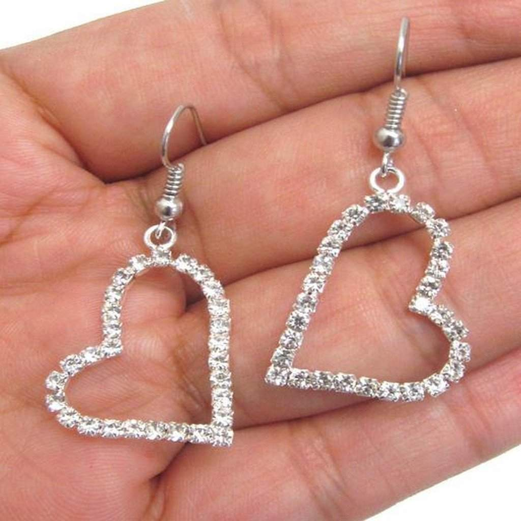 Silver and Rhinestone Sideways Heart Earrings - JaeBee