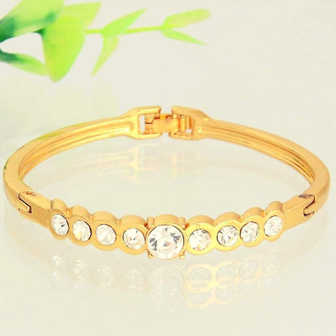 Gold Bangle Bracelet with Round Crystals